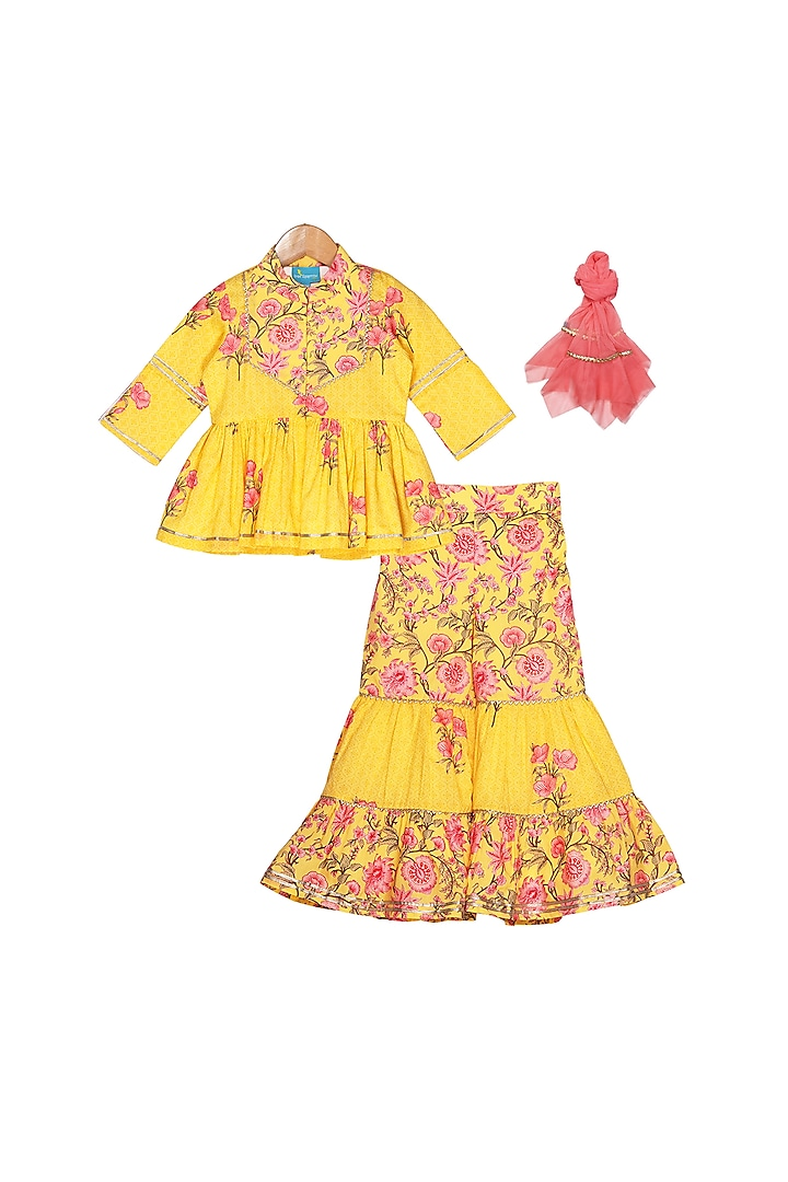 Yellow Floral Printed Sharara Set by Free Sparrow