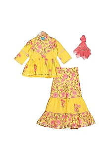Yellow Floral Printed Sharara Set by Free Sparrow