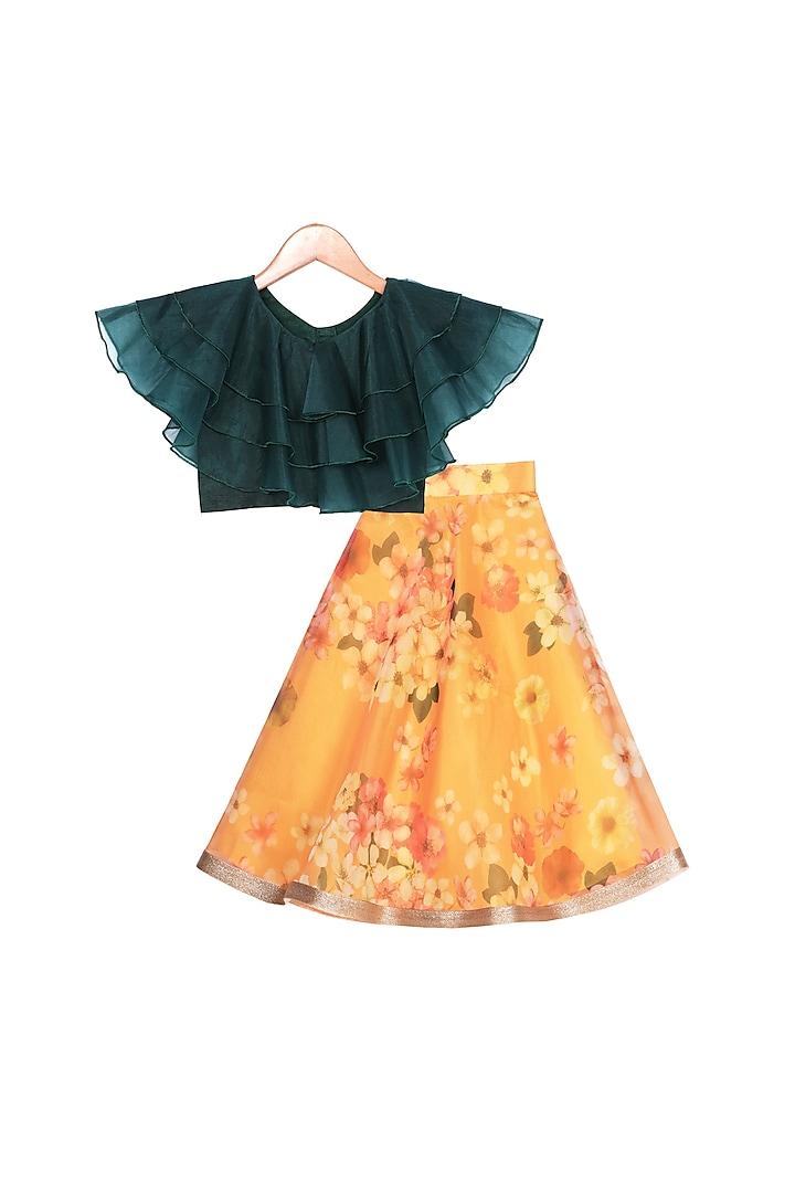 Orange Printed Lehenga With Green Top by Free Sparrow