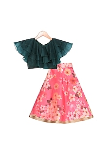Red Printed Lehenga With Green Top by Free Sparrow