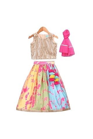 Multi Colored Printed Lehenga Set by Free Sparrow