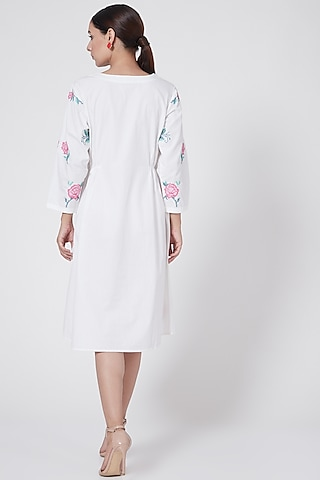 White & Pink Embroidered Dress by First Resort by Ramola Bachchan
