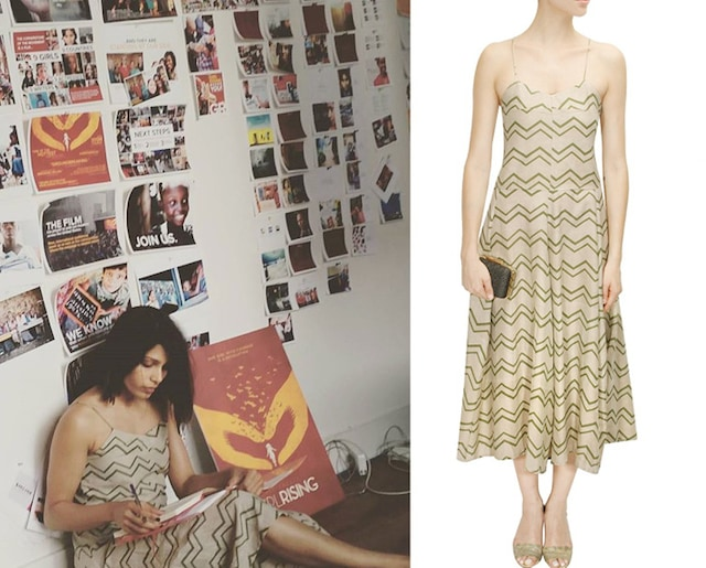 Light khaki chevron printed spaghetti dress by Shift by Nimish Shah
