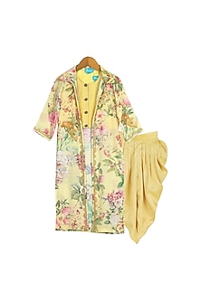 Yellow Floral Printed Dhoti Set by Free Sparrow