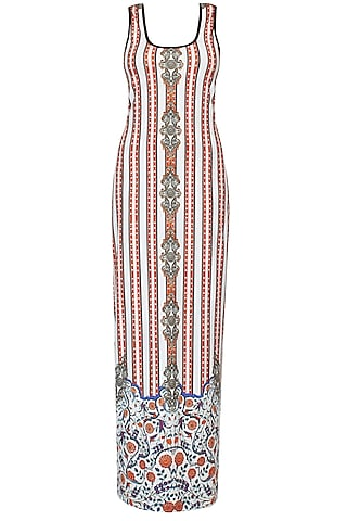 White Stripes And Ceramic Print Sleeveless Maxi Dress by Falguni and Shane Peacock