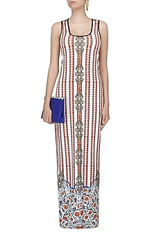 White Stripes And Ceramic Print Sleeveless Maxi Dress by Falguni and Shane Peacock