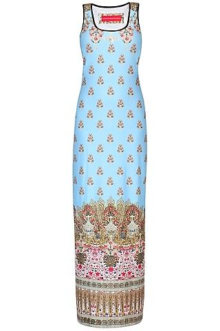 Mint Green Jewel And Motifs Print Sleeveless Maxi Dress by Falguni and Shane Peacock