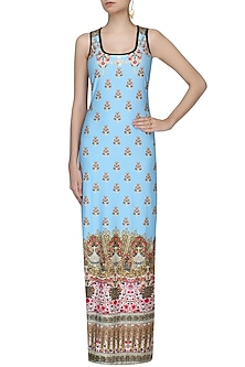 Mint Green Jewel And Motifs Print Sleeveless Maxi Dress by Falguni and Shane Peacock