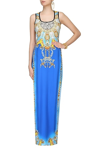 Aster Blue Jewel Print Sleeveless Maxi Dress by Falguni and Shane Peacock