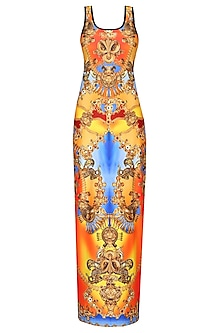 Flame Orange And Chrome Yellow Jewel Print Maxi Dress by Falguni and Shane Peacock