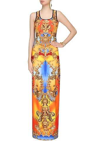 Flame Orange And Chrome Yellow Jewel Print Maxi Dress by Falguni and Shane Peacock