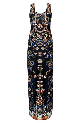 Phantom Black Floral Print Sleeveless Maxi Dress by Falguni and Shane Peacock