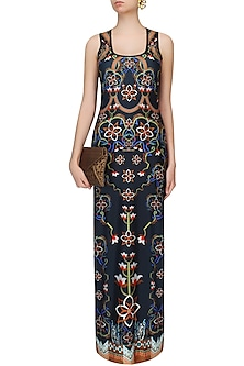 Phantom Black Floral Print Sleeveless Maxi Dress by Falguni and Shane Peacock