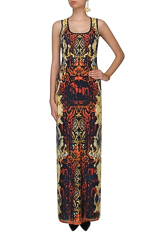 Black, Poppy Red And Gold Baroque Print Maxi Dress by Falguni and Shane Peacock