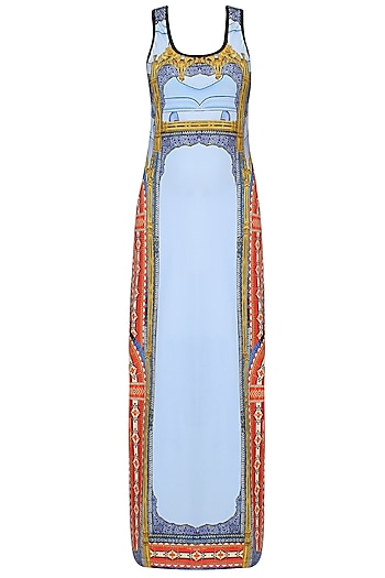 Skyway Blue Baroque And Ceramic Print Maxi Dress by Falguni and Shane Peacock