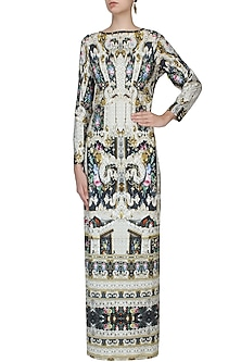 White Vanilla Ice Fusion Print Maxi Dress by Falguni and Shane Peacock
