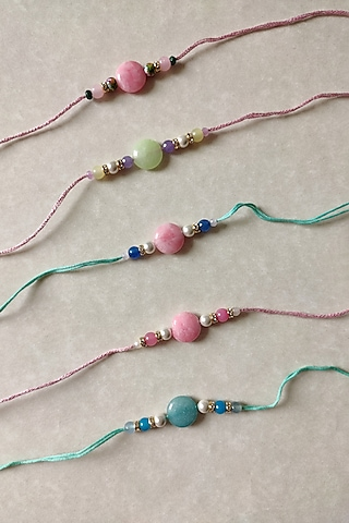 Green, Blue, & Pink Beaded Rakhi (Set of 4) by Funky Trunk