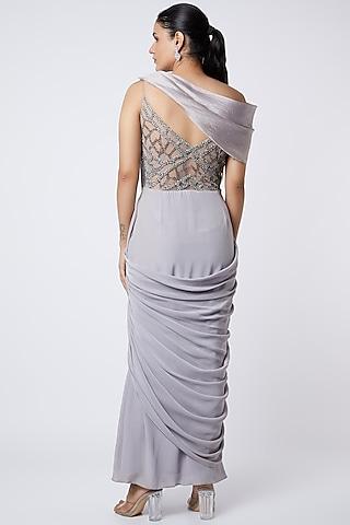 Grey Off Shoulder Saree Gown by Babita Malkani