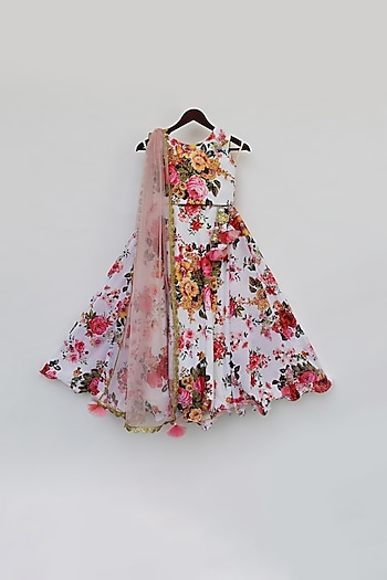 White & Pink Printed Lehenga Set by Fayon Kids