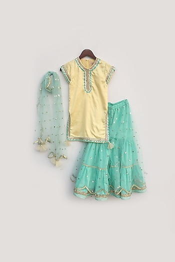 Yellow & Aqua Blue Embroidered Sharara Set by Fayon Kids