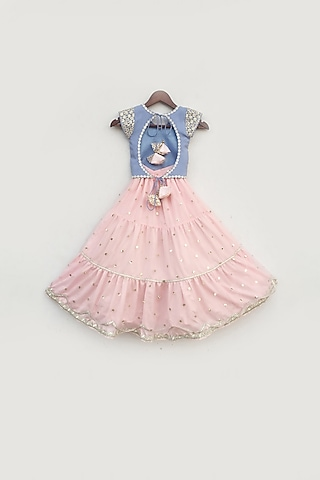 Blue & Pink Embroidered Lehenga Set by Fayon Kids