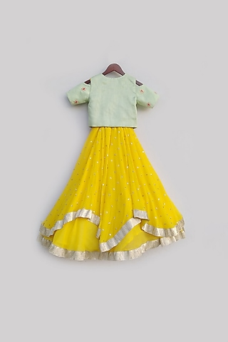 Pista Green & Yellow Anarkali With Jacket by Fayon Kids