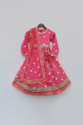 Hot Pink Embroidered Anarkali Set by Fayon Kids