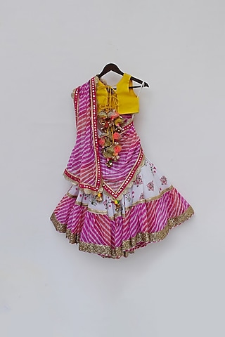 Multi Printed Lehenga Set by Fayon Kids