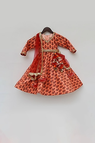 Orange Printed Anarkali Set by Fayon Kids