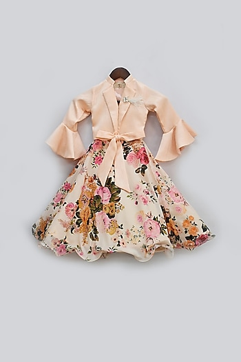 Peach Printed Lehenga Set by Fayon Kids