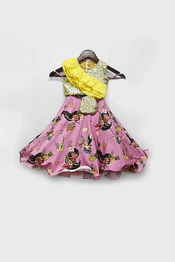 Purple & Yellow Embroidered Lehenga Set With Pouch by Fayon Kids