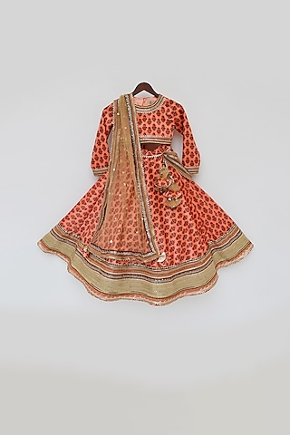 Orange Printed Lehenga Set by Fayon Kids