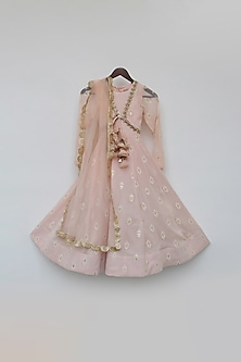 Light Peach Embroidered Anarkali Set by Fayon Kids