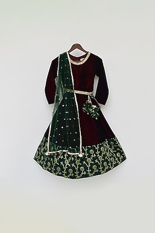 Maroon & Green Embroidered Anarkali Set by Fayon Kids