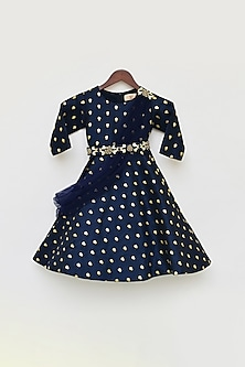 Dark Blue Embroidered Anarkali Set by Fayon Kids