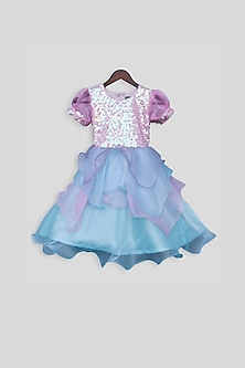 Pink Embellished Sequins Frock by Fayon Kids