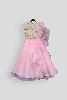 Beige & Pink Embroidered Lehenga Set by Fayon Kids
