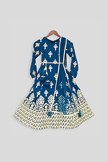 Teal Blue Embroidered Anarkali With Attached Dupatta by Fayon Kids