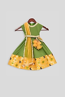 Mehendi Green Anarkali With Attached Dupatta by Fayon Kids