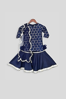 Dark Blue Embroidered Sharara Set by Fayon Kids