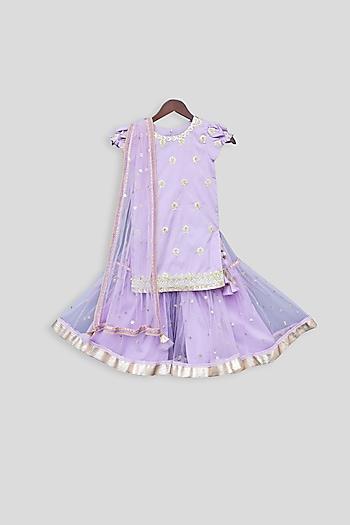 Purple Embroidered Sharara Set by Fayon Kids