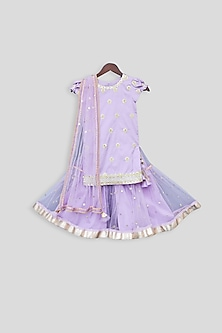 Purple Embroidered Sharara Set by Fayon Kids