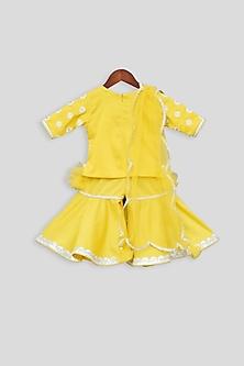 Yellow Embroidered Sharara Set by Fayon Kids