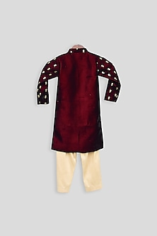 Maroon & Beige  Embroidered Ajkan Set by Fayon Kids