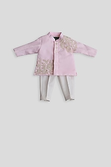 Pastel Pink & Off White Embroidered Ajkan Set by Fayon Kids