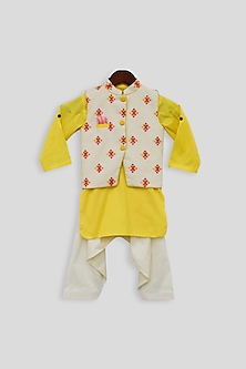 Yellow & Beige Embroidered Jacket Set by Fayon Kids