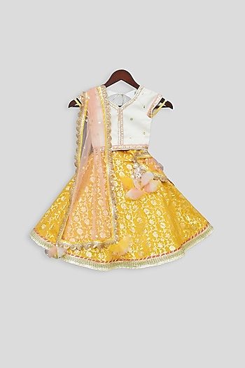 Off White & Yellow Embellished Lehenga Set by Fayon Kids