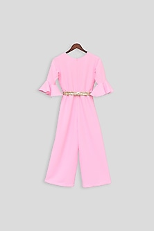 Pink Jumpsuit With Golden Belt by Fayon Kids