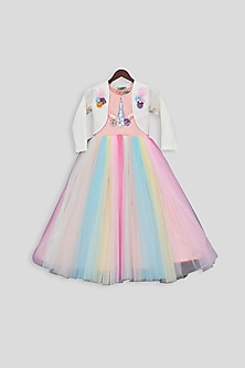 Multi Colored Embroidered Gown With Off White Jacket by Fayon Kids