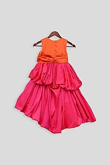 Hot Pink Gown With Bow by Fayon Kids